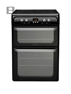 hotpoint-ultima-hui614k-60cm-double-oven-electric-cooker-with-induction-hob-black