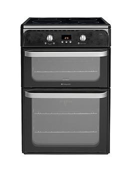 hotpoint-ultima-hui612k-60cm-double-oven-electric-cooker-with-induction-hob-black
