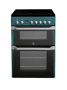 indesit-id60c2n-60cm-electric-cooker-double-oven-with-ceramic-hob-green