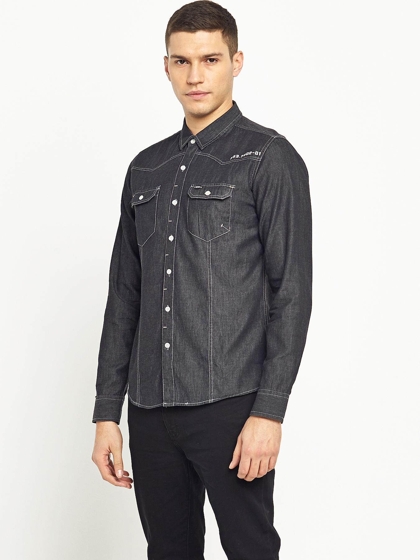 Firetrap Mens Garrick Long Sleeved Shirt - Black, Black