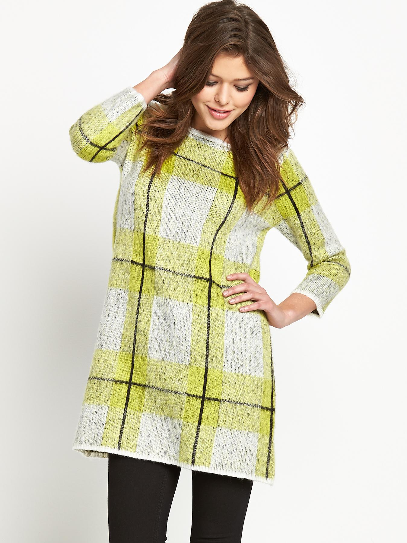 Fashion Union Checked Jumper Dress - Lime, Lime