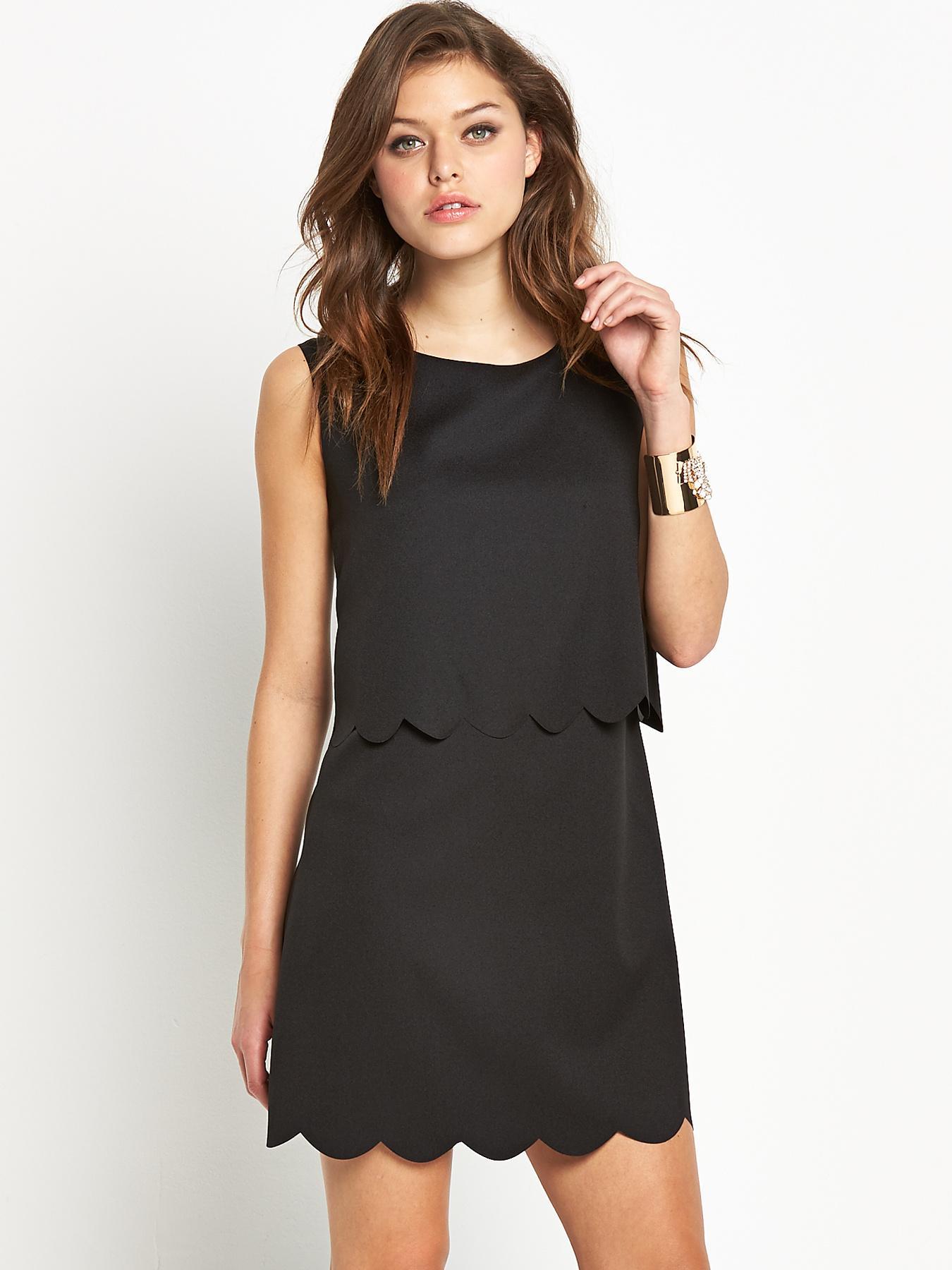 Fashion Union Scallop Dress - Black, Black