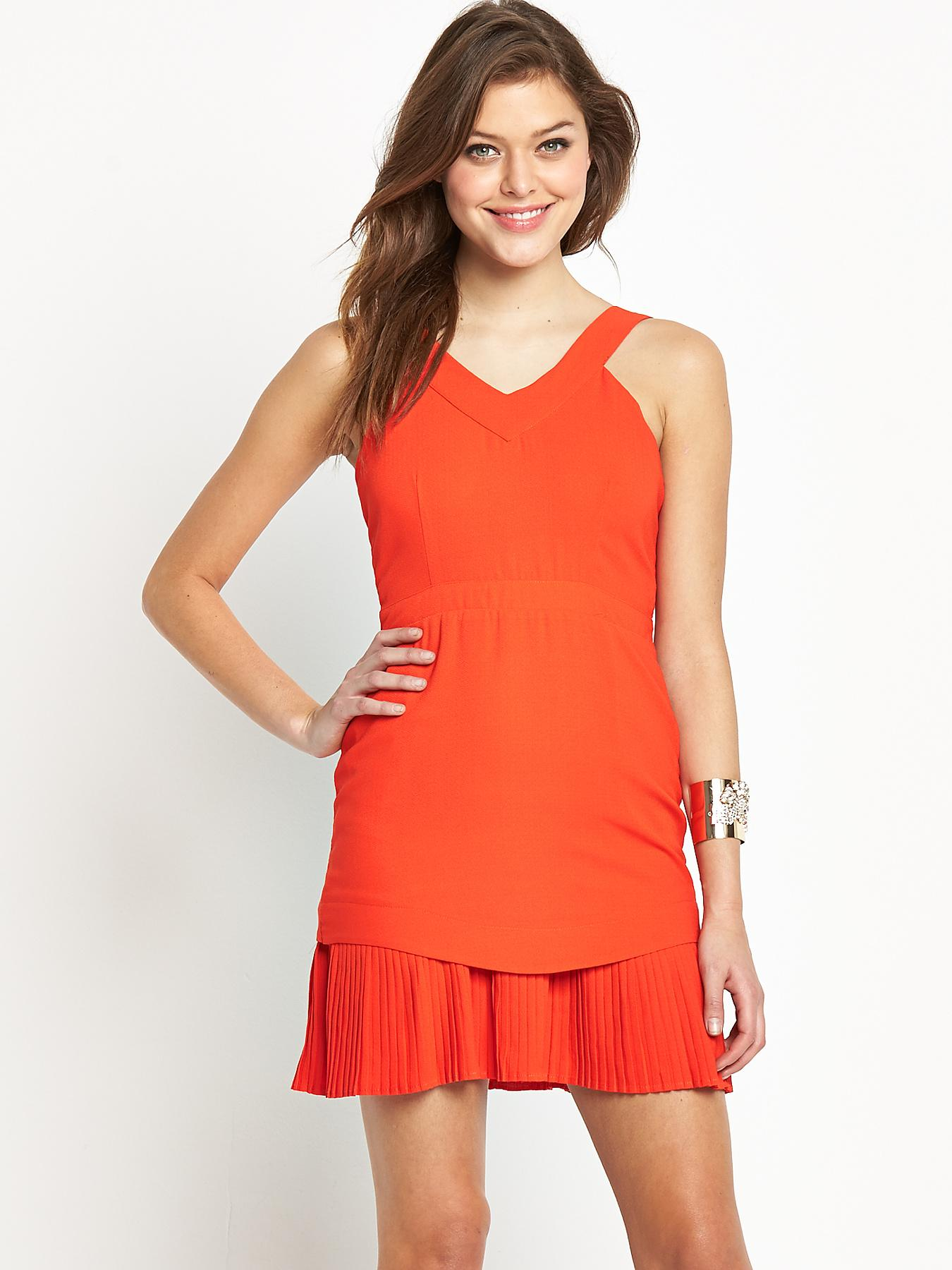 Fashion Union Pleated Dress - Red, Red