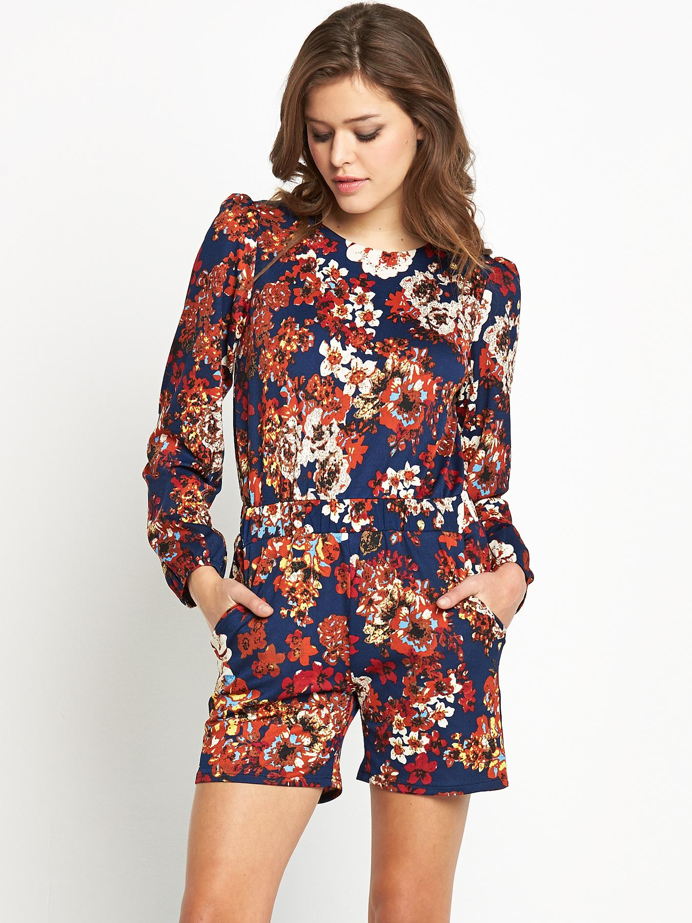 Club L Long Sleeve Floral Playsuit