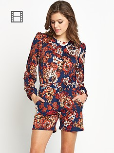 club-l-long-sleeve-floral-playsuit