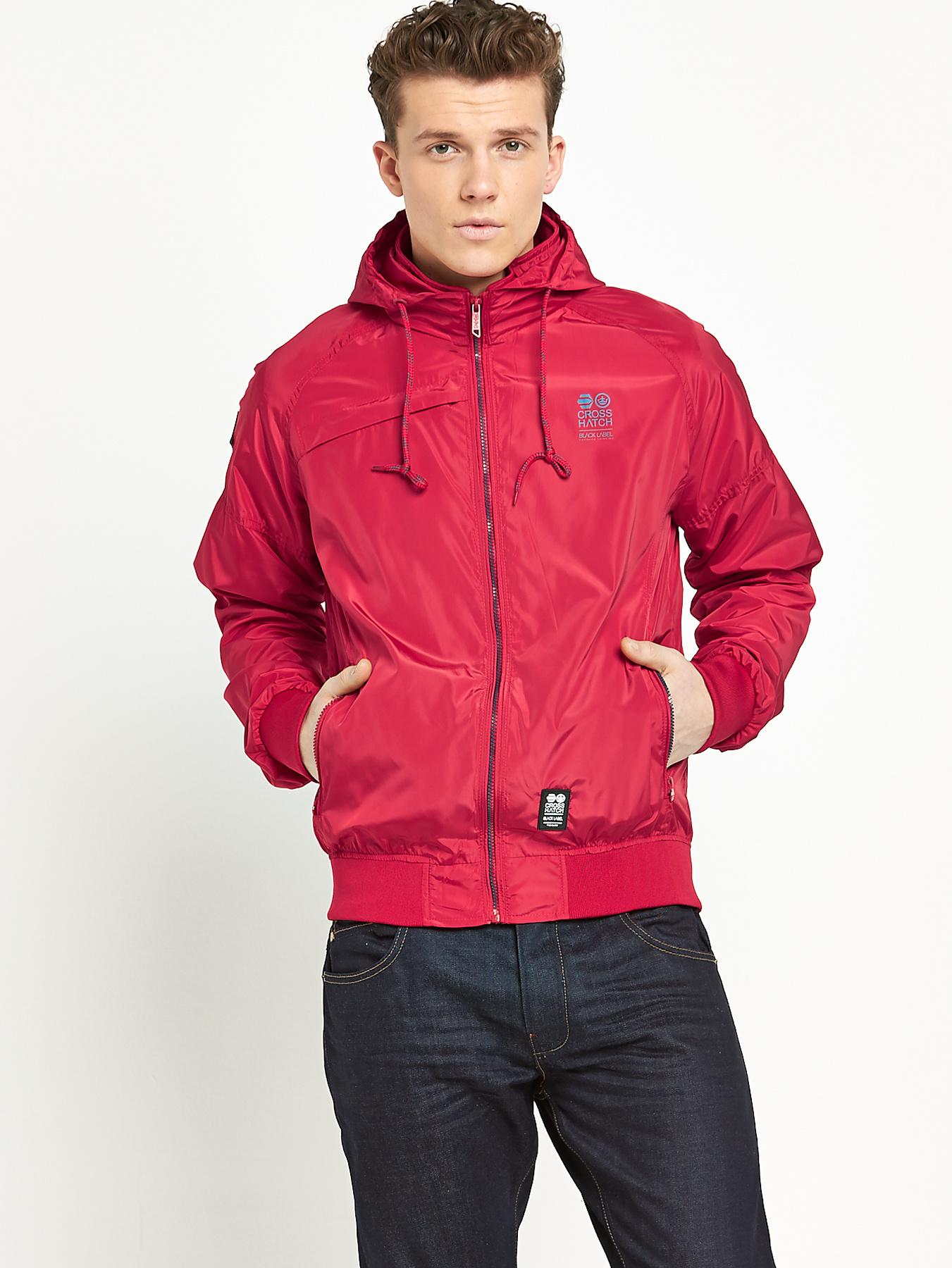 Crosshatch Mens Zip Through Hoody - Red, Red