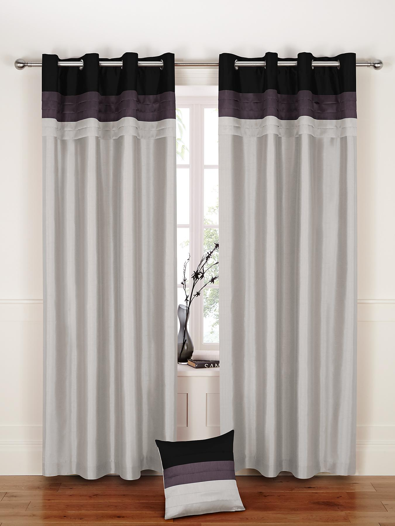 Seattle Eyelet Curtains - Black, Black,Red,Teal