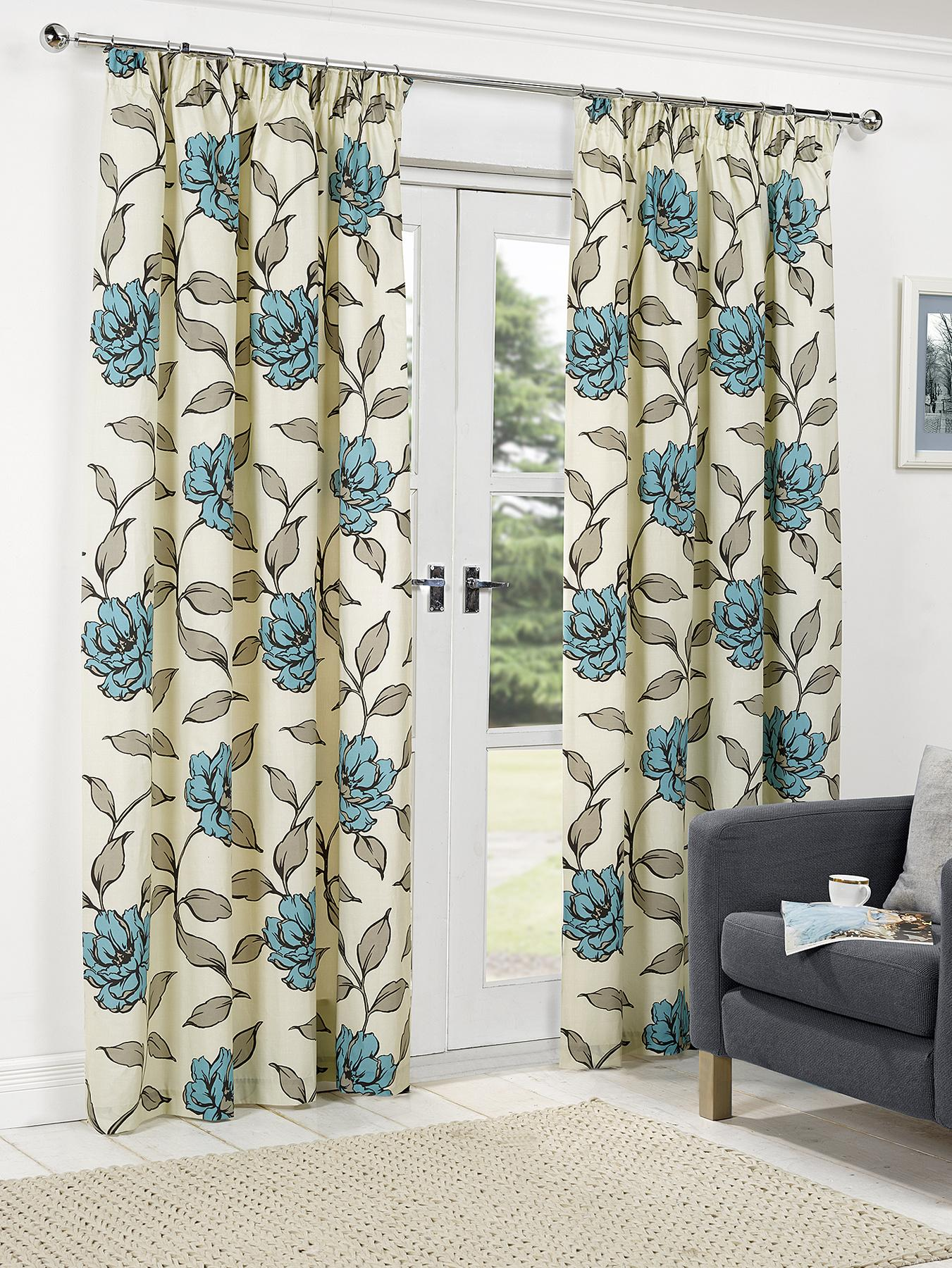 Floral Pleated Curtains - Teal, Teal,Red