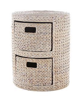 round-arrow-weave-2-drawer-storage-unit-white