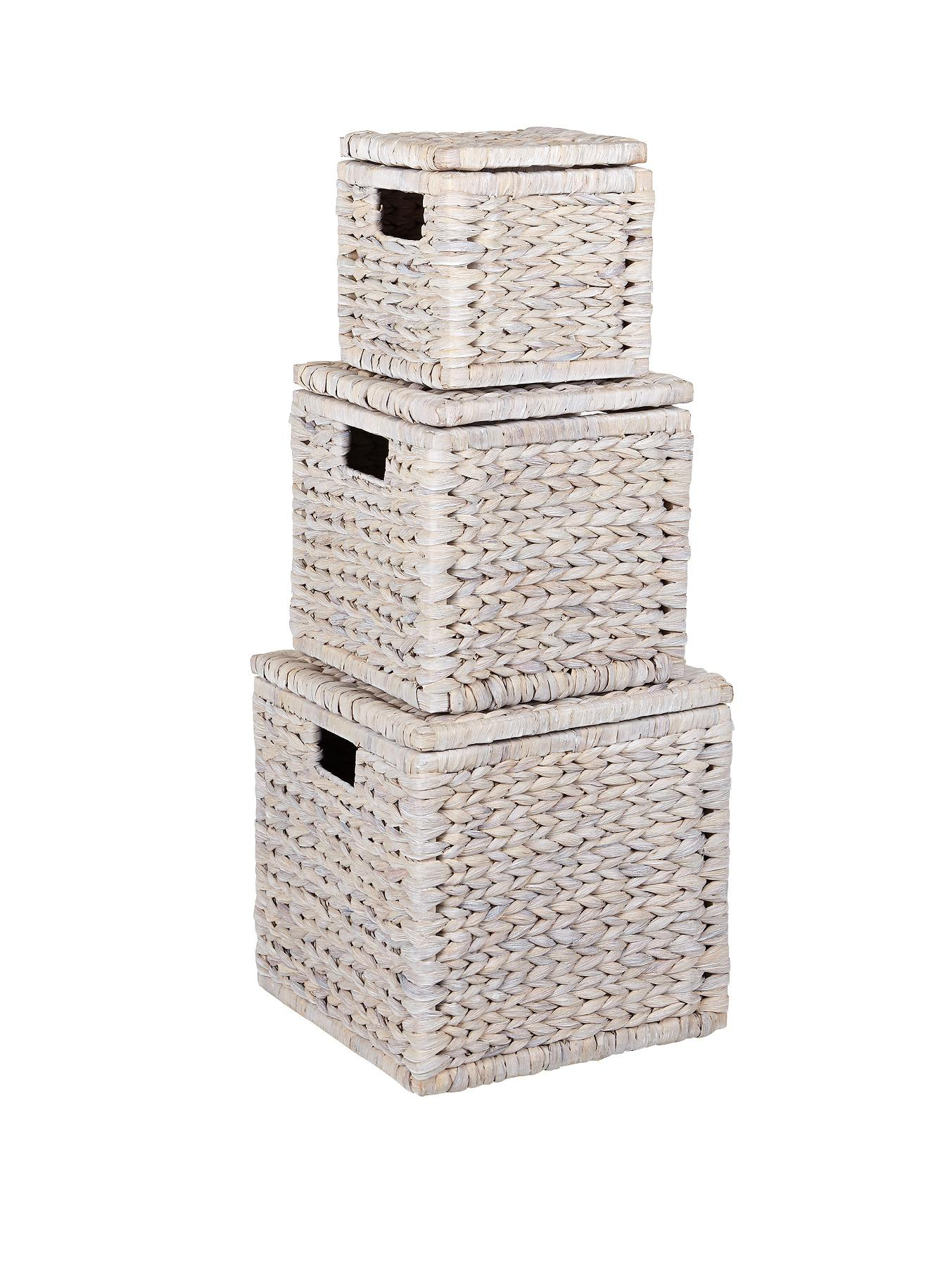 Set of 3 Nested Lidded Arrow Weave Storage Boxes