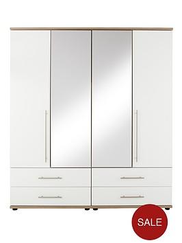 consort-kenton-4-door-4-drawer-mirrored-wardrobe