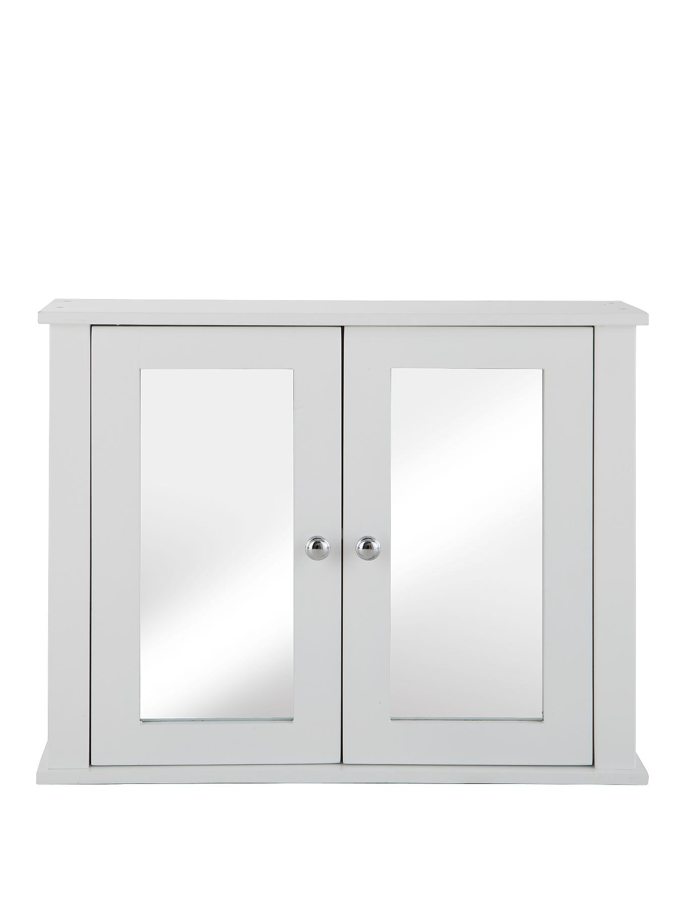Newquay New Mirrored Wall Cabinet - White - White, White