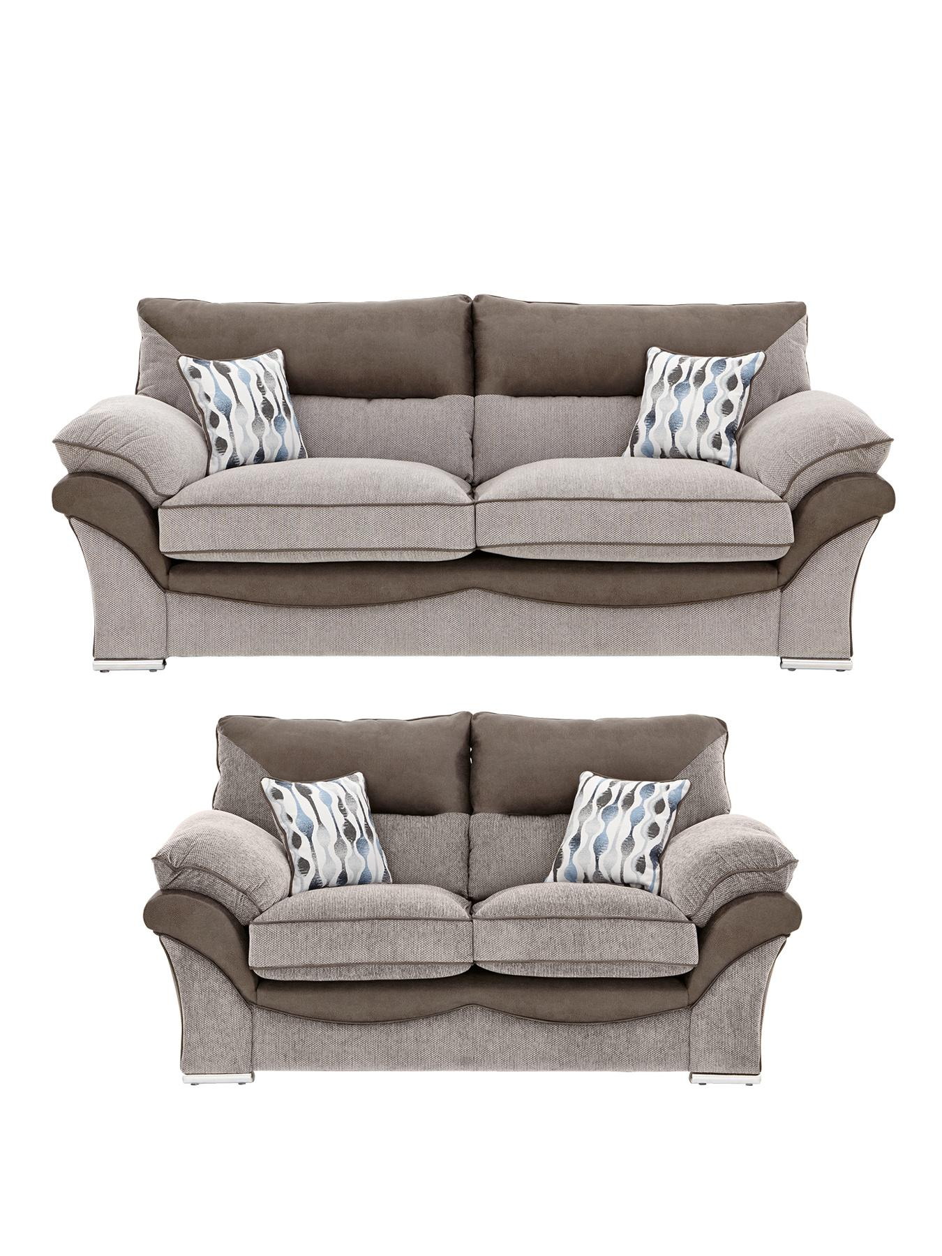 Hampton 3-Seater plus 2-Seater Sofa - Silver, Silver,Grey