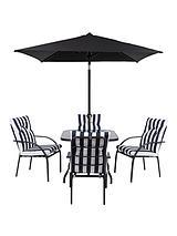 Portland 6-Piece Steel Set, Cushions & 2m Parasol