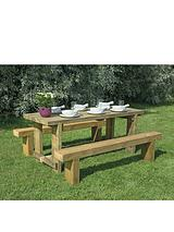 Garden Refectory Table 1.8m Long and 2 Benches