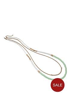 fiorelli-green-white-and-gold-tone-multi-row-bead-necklace