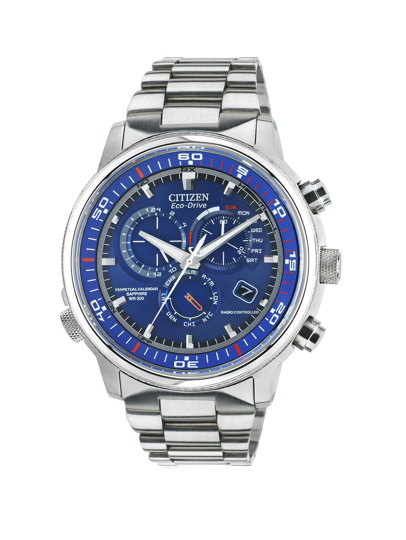 Citizen Eco-Drive Nighthawk A.T Radio-Controlled Bracelet Mens Watch