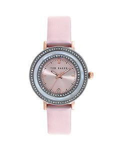ted-baker-crystal-bezel-silver-tone-pink-leather-strap-ladies-watch