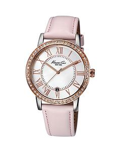 kenneth-cole-mother-of-pearl-dial-pink-leather-strap-ladies-watch