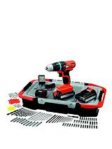 EGBL18BAST-GB 18-volt Lithium Ion Drill Driver with 2 Batteries, 165 Accessories and Kitbox *FREE Prize Draw Entry*