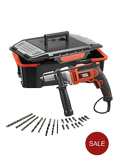 black-decker-kr705ast2-gb-750-watt-percussion-hammer-drill-with-20-accessories