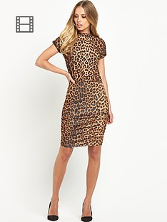 definitions-ruched-leopard-print-dress