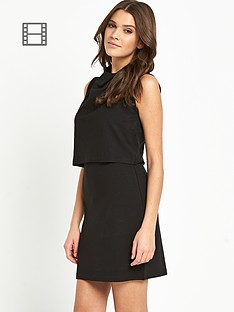 french-connection-polka-plain-high-neck-dress