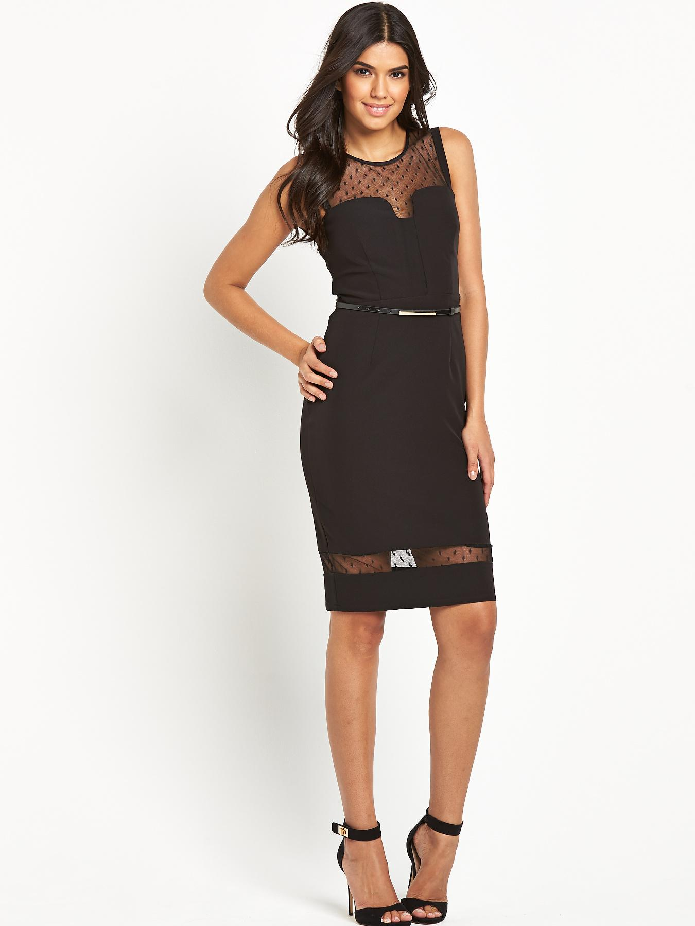Lipsy Michelle Keegan Belted Mesh Bodycon Dress - Black, Black
