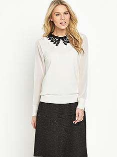 definitions-lace-collar-chiffon-sleeve-jumper