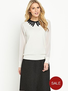 definitions-lace-collar-chiffon-sleeve-jumper
