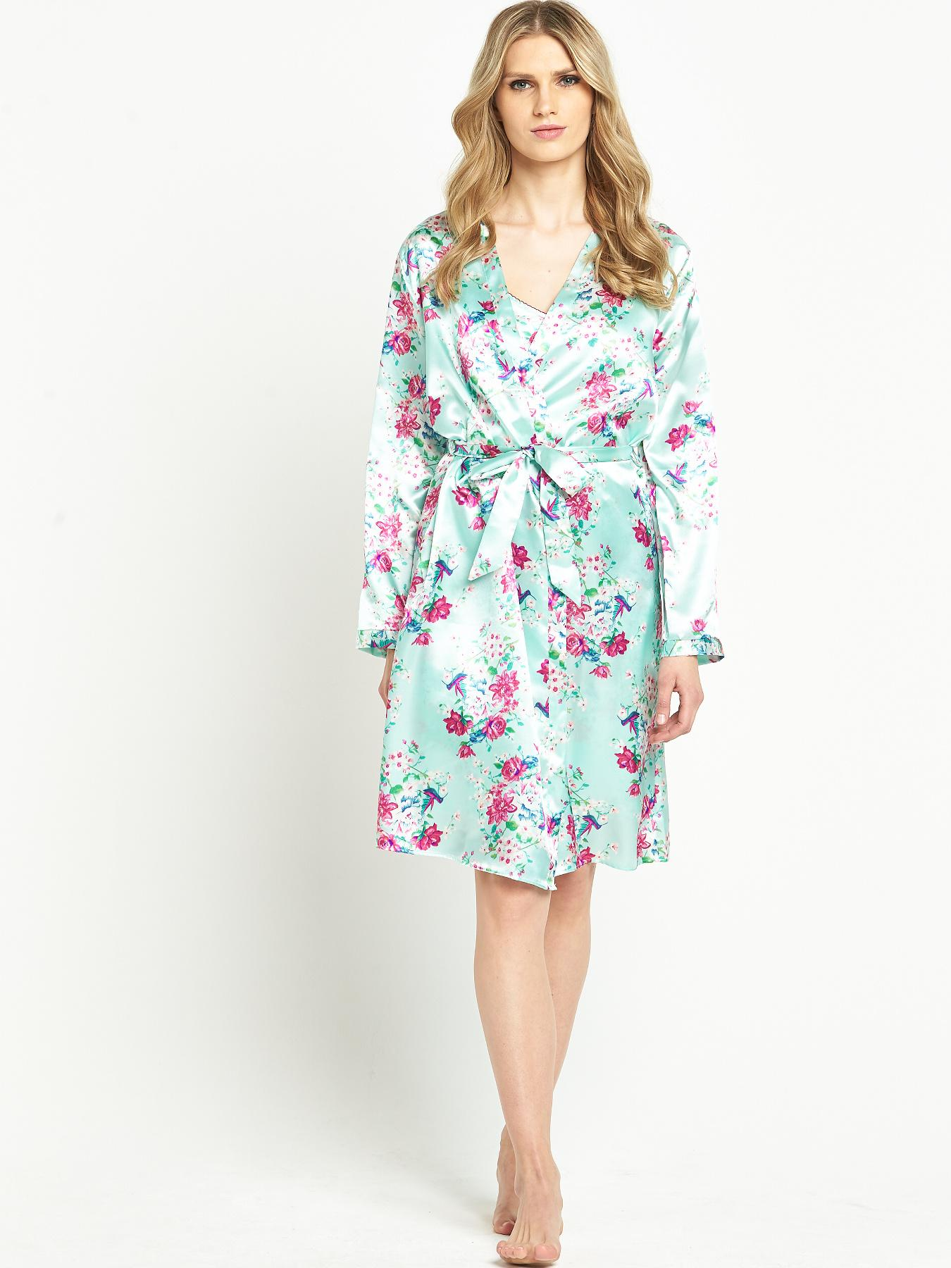 Sorbet Satin Printed Robe - Blue, Blue