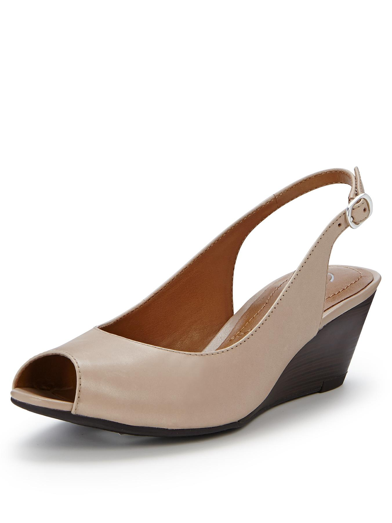 Clarks Brielle April Peep Toe Slingback Wedges - Nude, Nude,Navy
