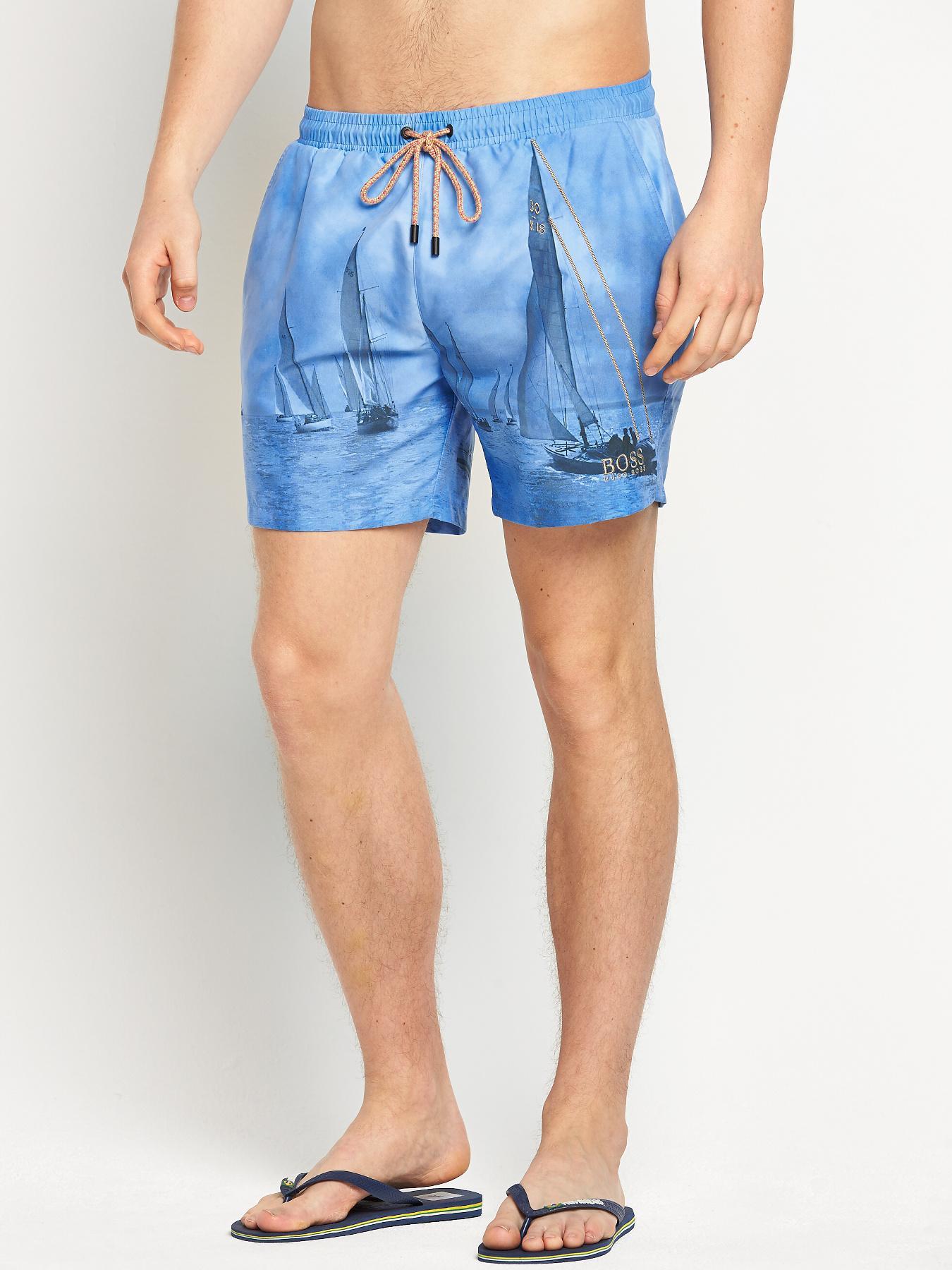 Hugo Boss Mens Springfish Swimshorts - Blue, Blue