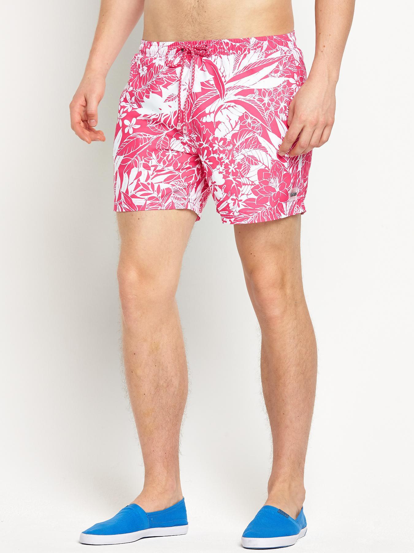 Hugo Boss Mens Piranha Swim Shorts - Pink, Pink