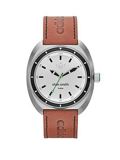 adidas-stan-smith-silver-stainless-light-brown-leather-mens-watch