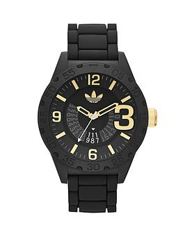 adidas Newburgh Black Nylon Case and Silicone Strap Mens Watch