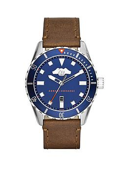 Armani Exchange Blue Dial And Brown Leather Strap Mens Watch