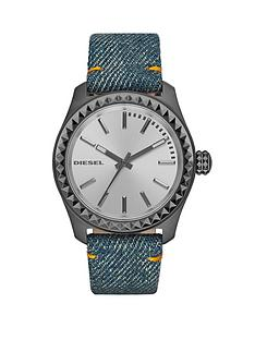 diesel-kray-kray-38-silver-dial-and-gunmetal-blue-denim-strap-ladies-watch
