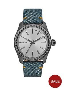 diesel-kray-kray-38-silver-dial-and-gunmetal-blue-denim-strap-ladies-watch