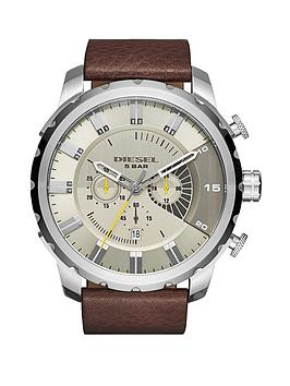Diesel Stronghold Gunmetal/Grey Dial And Stainless Steel Brown Leather Strap Mens Watch