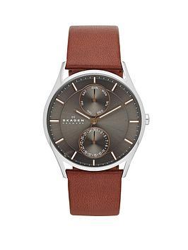 skagen-holst-brown-leather-strap-mens-watch