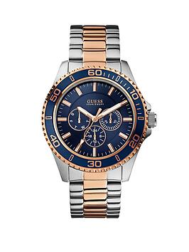 guess-chaser-blue-multi-function-dial-silver-and-rose-gold-tone-mens-watch
