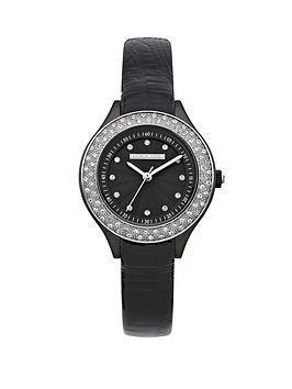 karen-millen-crystal-set-black-leather-strap-ladies-watch