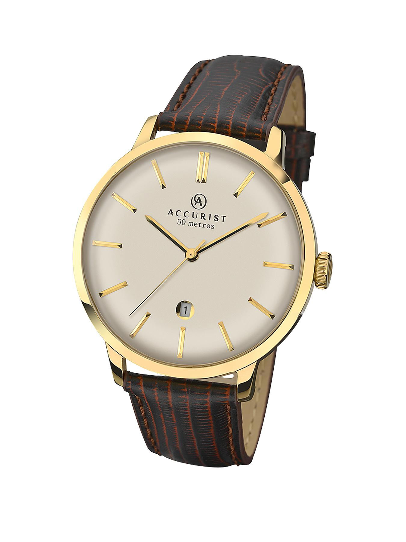 Accurist Gold Plated Brown Leather Strap Mens Watch