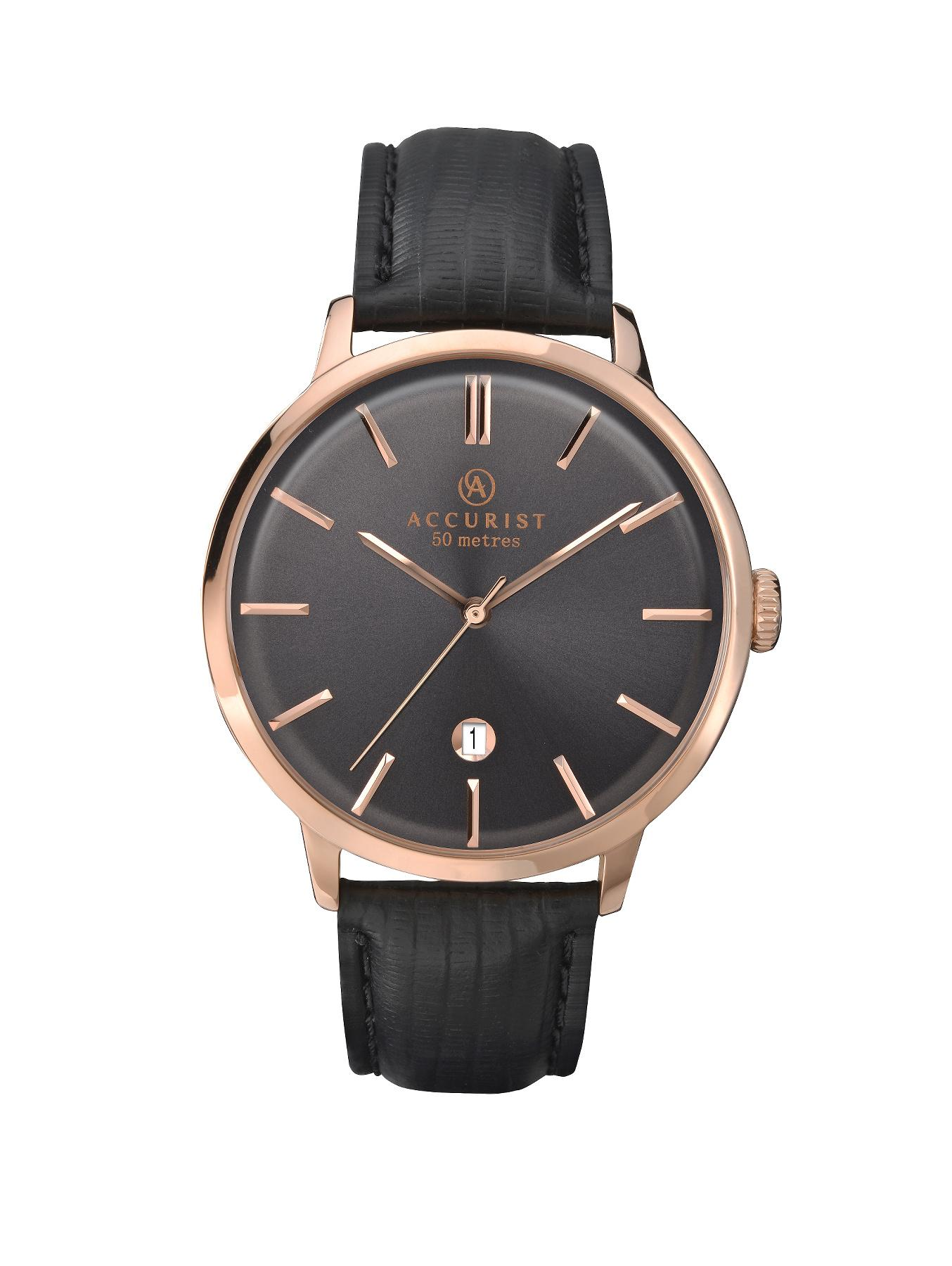 Accurist Rose Gold Tone Stainless Steel Brown Leather Strap Mens Watch