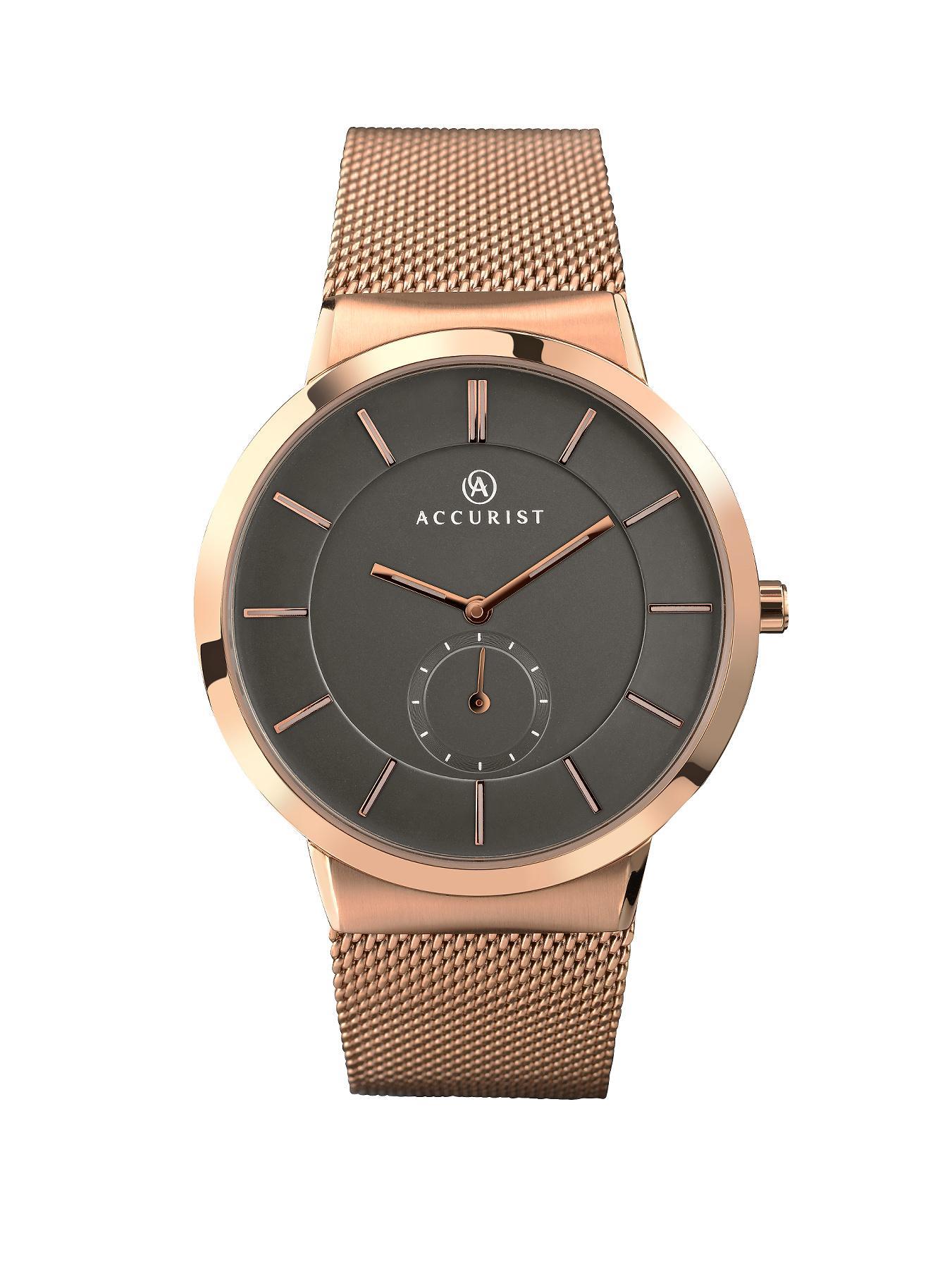 Accurist Rose Gold Tone Bracelet Mens Watch