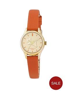 radley-on-the-run-colour-splash-gold-tone-blood-orange-leather-strap-ladies-watch