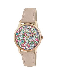 accessorize-floral-dial-rose-gold-coloured-case-cream-strap-ladies-watch