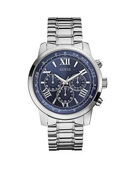 guess-chronograph-blue-dial-silver-tone-bracelet-mens-watch