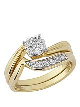 Gold Plated Sterling Silver Cubic Zirconia 2-Piece Ring Set